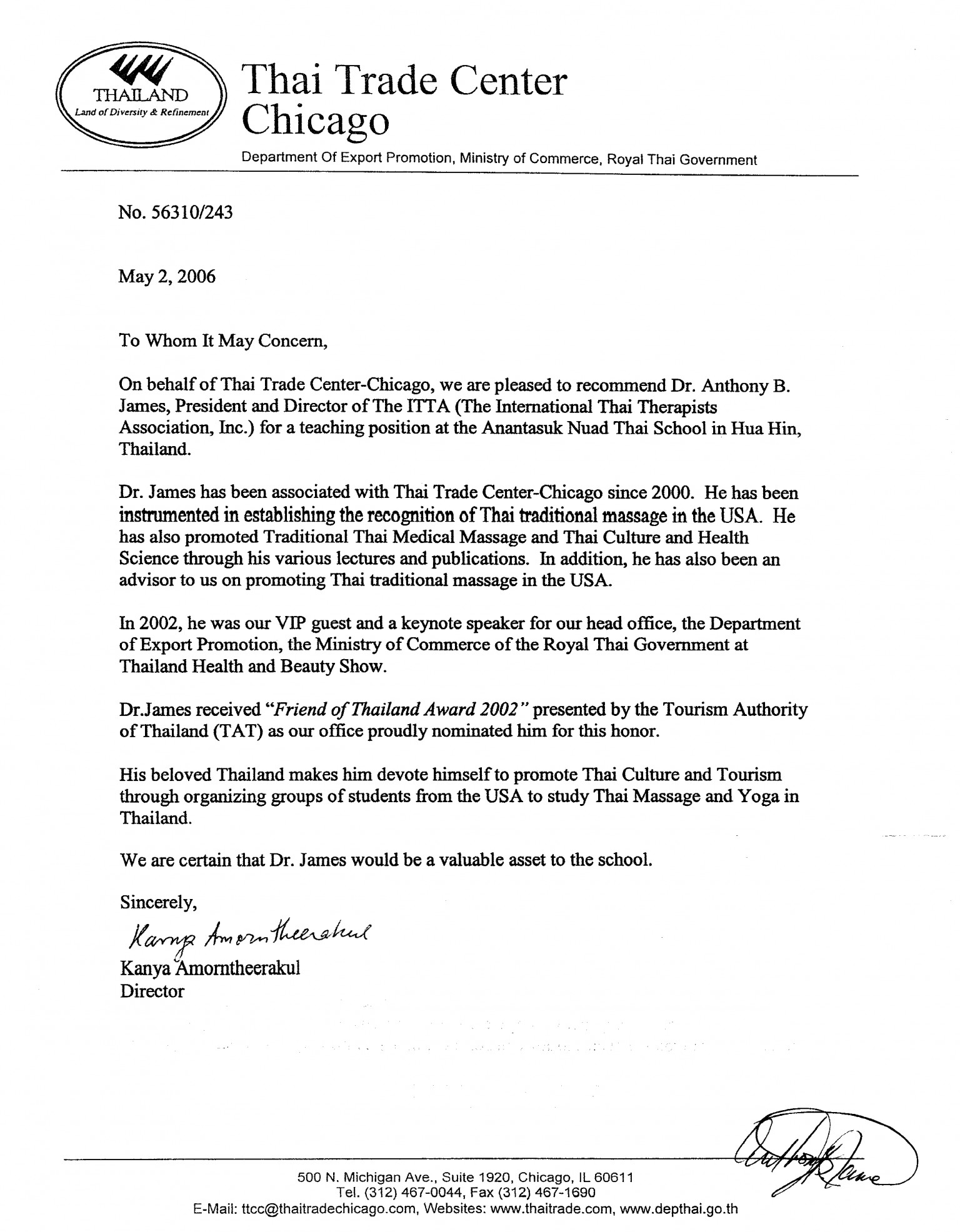 Thai trade recommendation thai trade department recommendation letter for dr anthony b james mitanshu Images