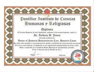 Pontifice Instituto de Ciencias Humanas y Religiosas Dipoma Doctor of Humanitarian Care, Honoris Causa