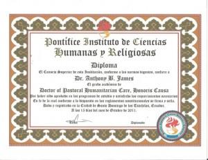 Pontifice Instituto de Ciencias Humanas y Religiosas Dipoma Doctor of Humanitarian Care, Honoris Causa