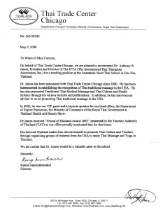 Thai Trade Department Recommendation Letter for Dr. Anthony B. James