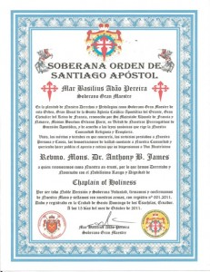 Ordination Anthony B. James, Revmo (Monsignor), Chaplain of Holiness, Soberana Orden Santiago Apostol, Ancient Apostolic and Catholic Church of the East in Brazil