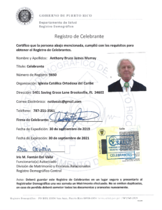 Dr. Anthony B. James, Puerto Rico, Celebrante License September 2019